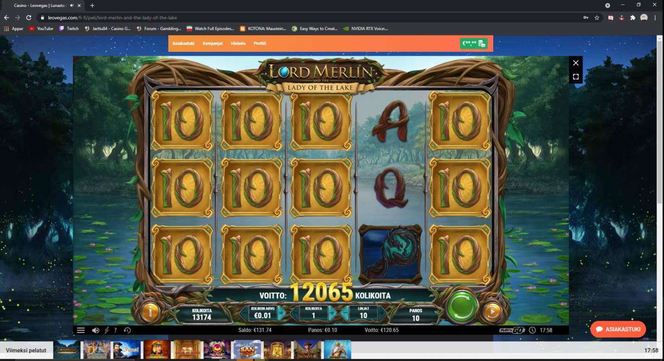 Lord Merlin Casino win picture by Henkka 25.4.2021 120.65e 1207X Leovegas