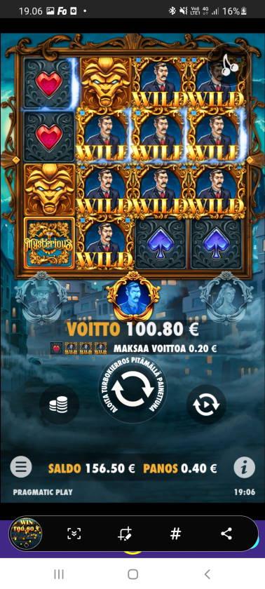 Mysterious Casino win picture by dj_niemi 8.4.2021 100.80e 252X Wildz