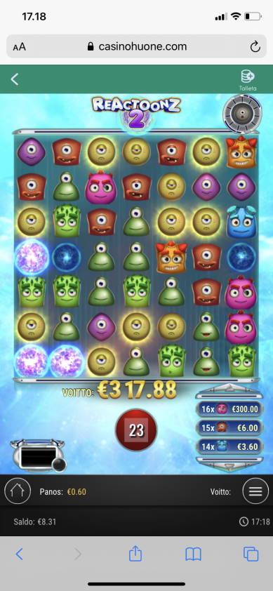 Reactoonz 2 Casino win picture by wapexi 16.4.2021 317.88e 530X Casinohuone