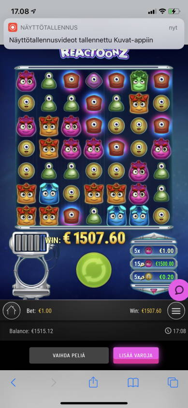 Reactoonz Casino win picture by Julluh 17.4.2021 1507.60e 1508X