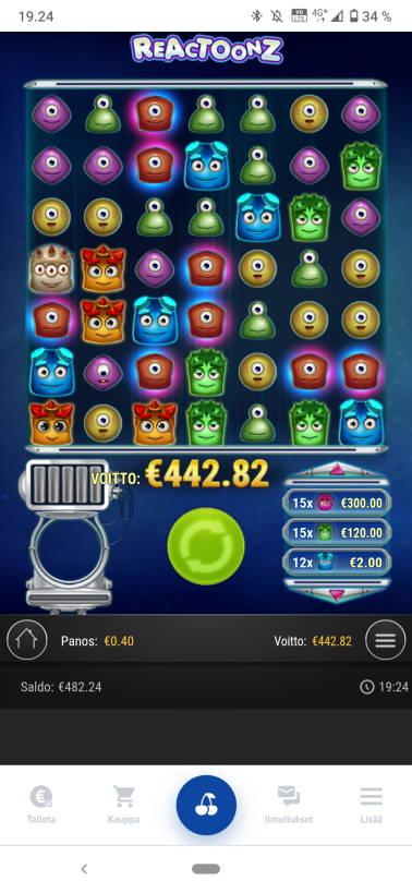 Reactoonz Casino win picture by Kasperi001 21.4.2021 442.82e 1107X