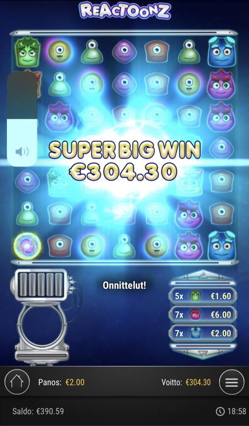 Reactoonz Casino win picture by Sonefinland 10.4.2021 304.30e 152X