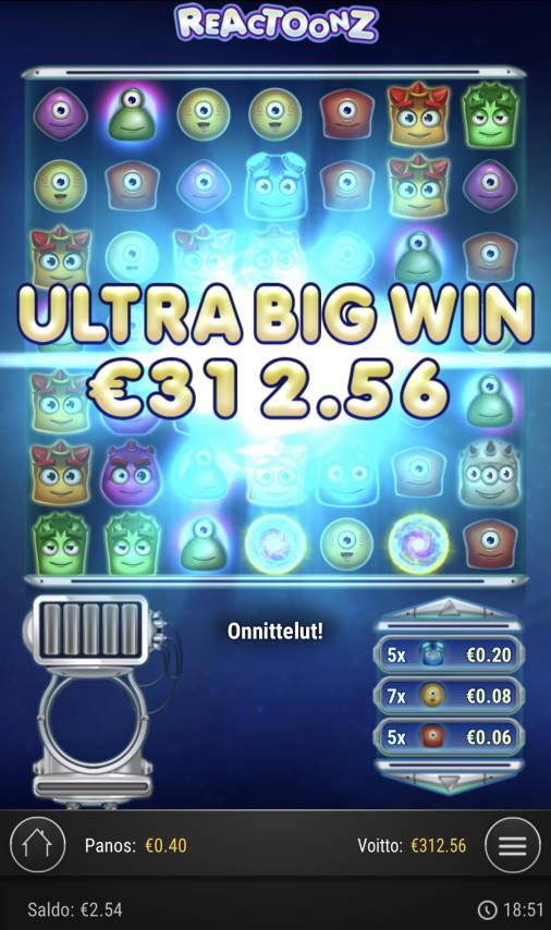 Reactoonz Casino win picture by Sonefinland 10.4.2021 312.56e 781X
