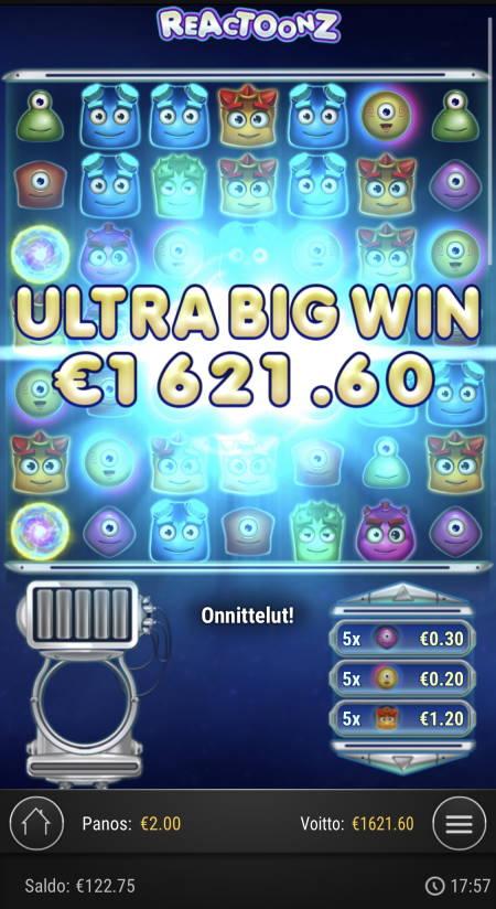 Reactoonz Casino win picture by Sonefinland 23.4.2021 1621.60e 811X
