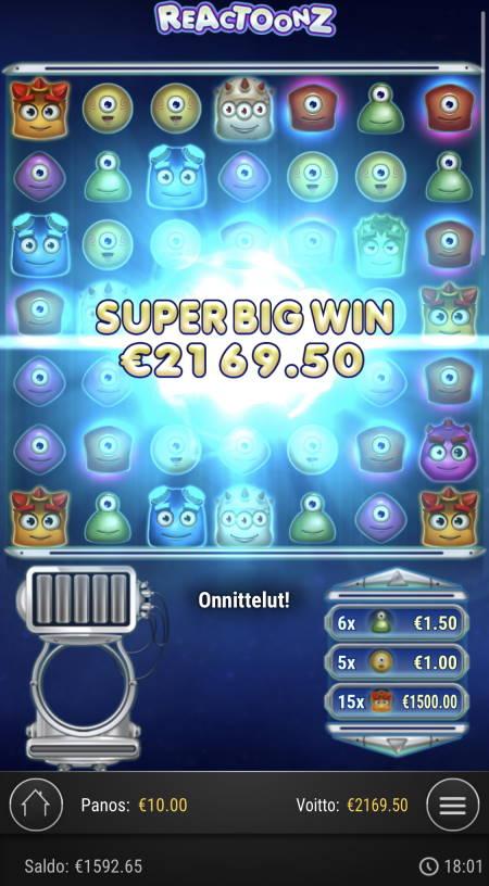 Reactoonz Casino win picture by Sonefinland 23.4.2021 2169.50e 217X