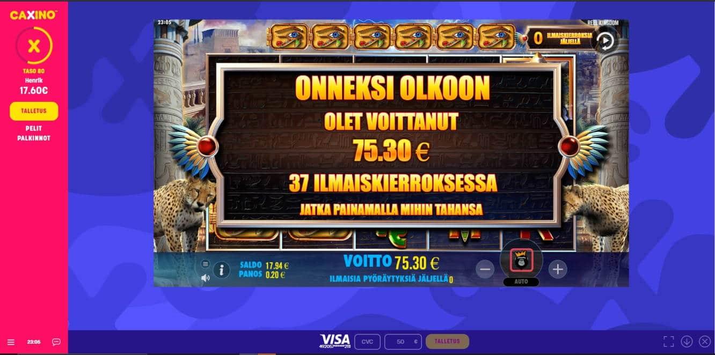 Reel Kingdom Casino win picture by Henkka 12.4.2021 75.30e 377X Caxino