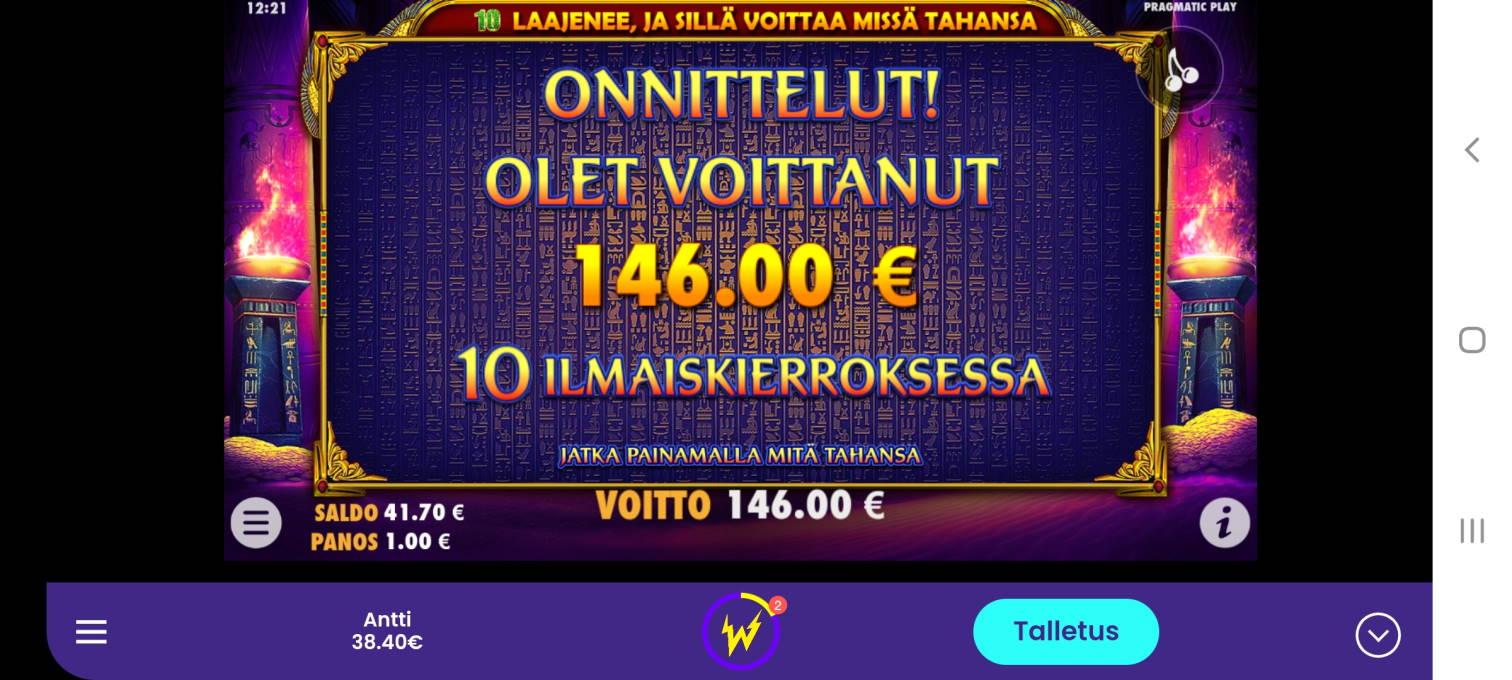 Scarab Queen Casino win picture by dj_niemi 27.3.2021 146e 146X Wildz