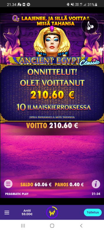 Ancient Egypt Casino win picture by dj_niemi 26.5.2021 210.60e 527X Wildz