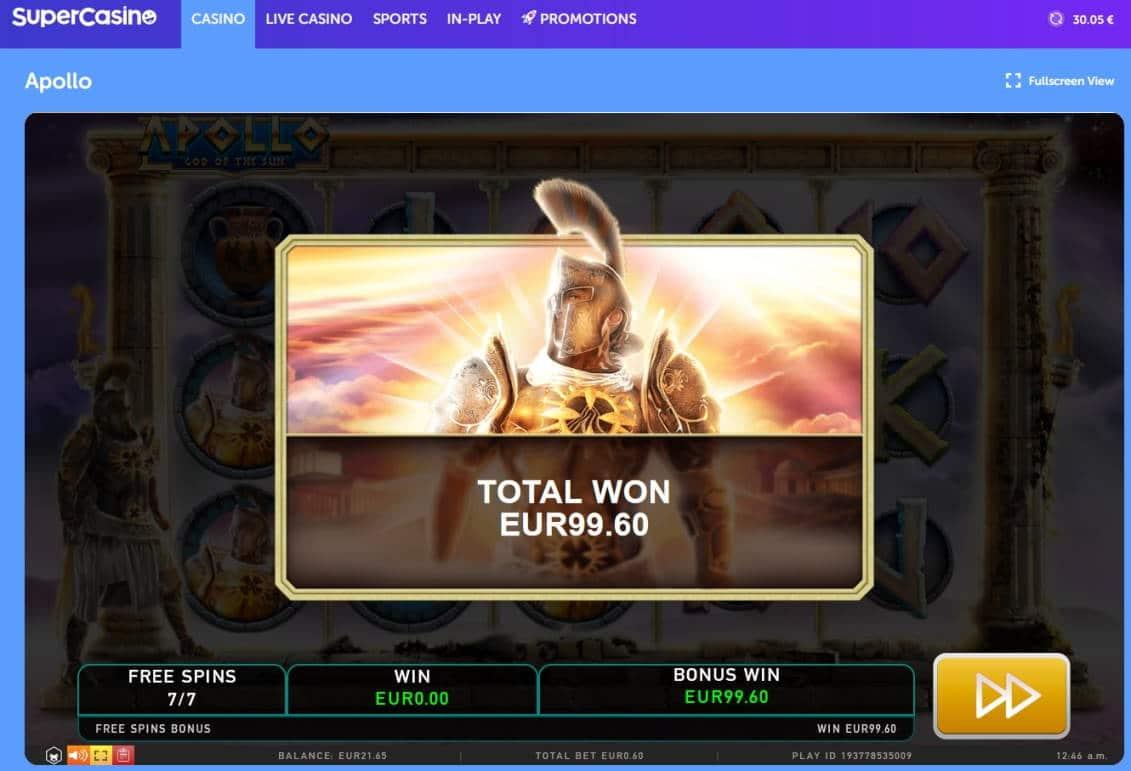 Apollo Casino win picture by Mrmork666 28.4.2021 99.60e 166X Super Casino