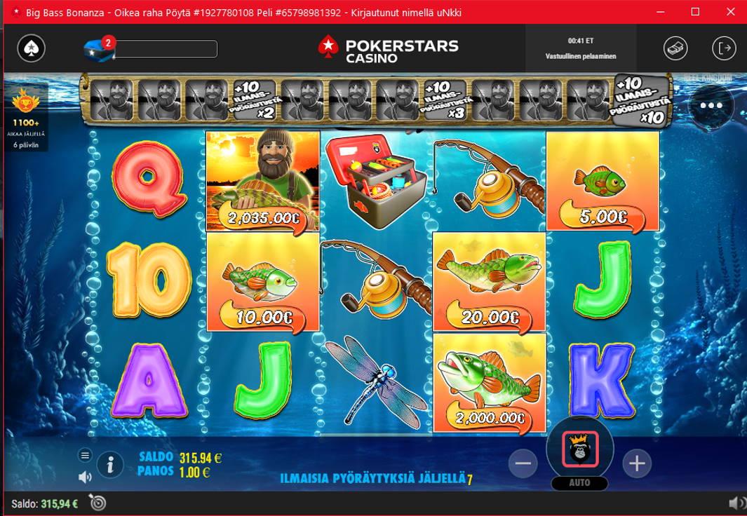 Big Bass Bonanza Casino win picture by uNkkiee 20.5.2021 2035e 2035X Poker Stars Casino