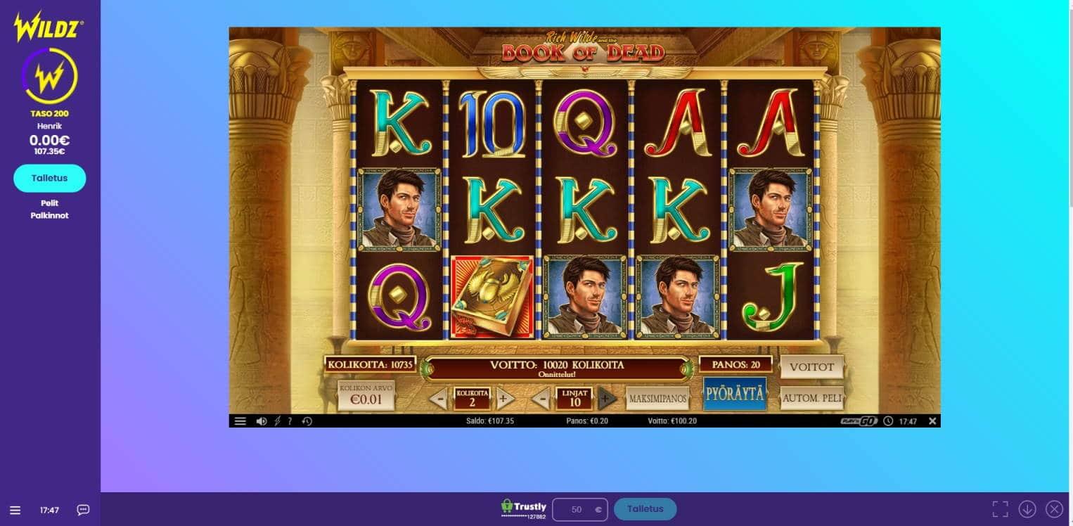 Book of Dead Casino win picture by Henkka 29.4.2021 100.20e 501X Wildz