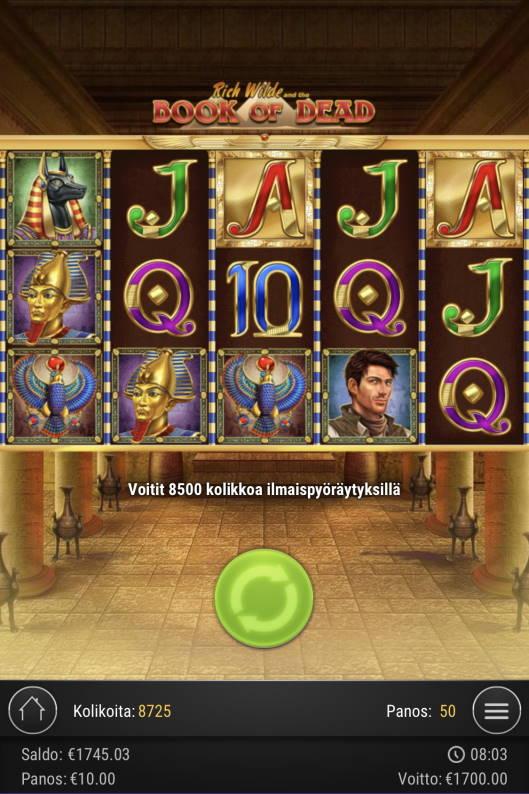 Book of dead Casino win picture by Sonefinland 7.5.2021 1700e 170X