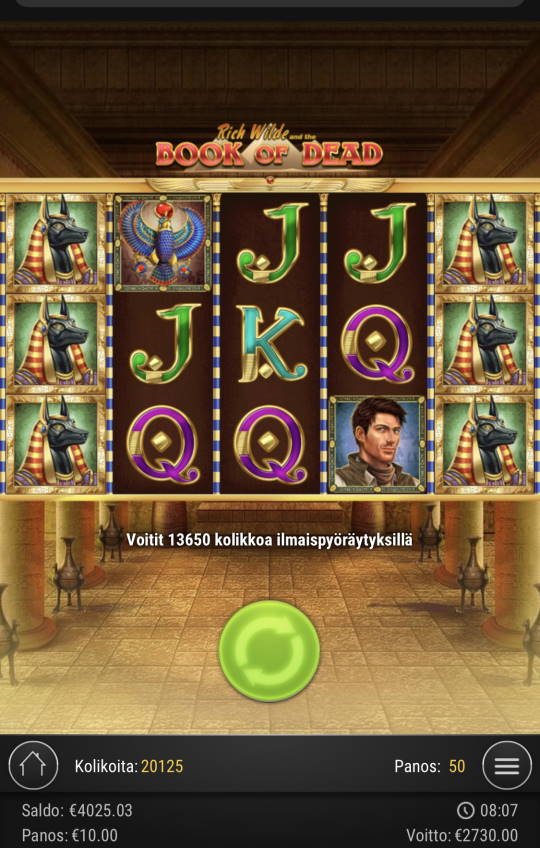 Book of dead Casino win picture by Sonefinland 7.5.2021 2730e 273X