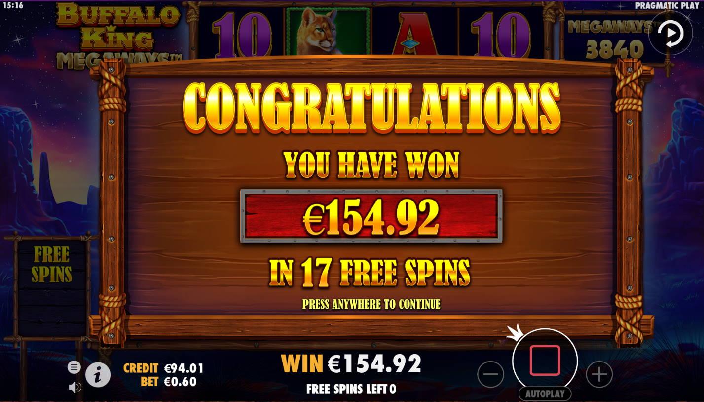Buffalo King Megaways Casino win picture by Kari Grandi 30.4.2021 154.92e 258X Wildz