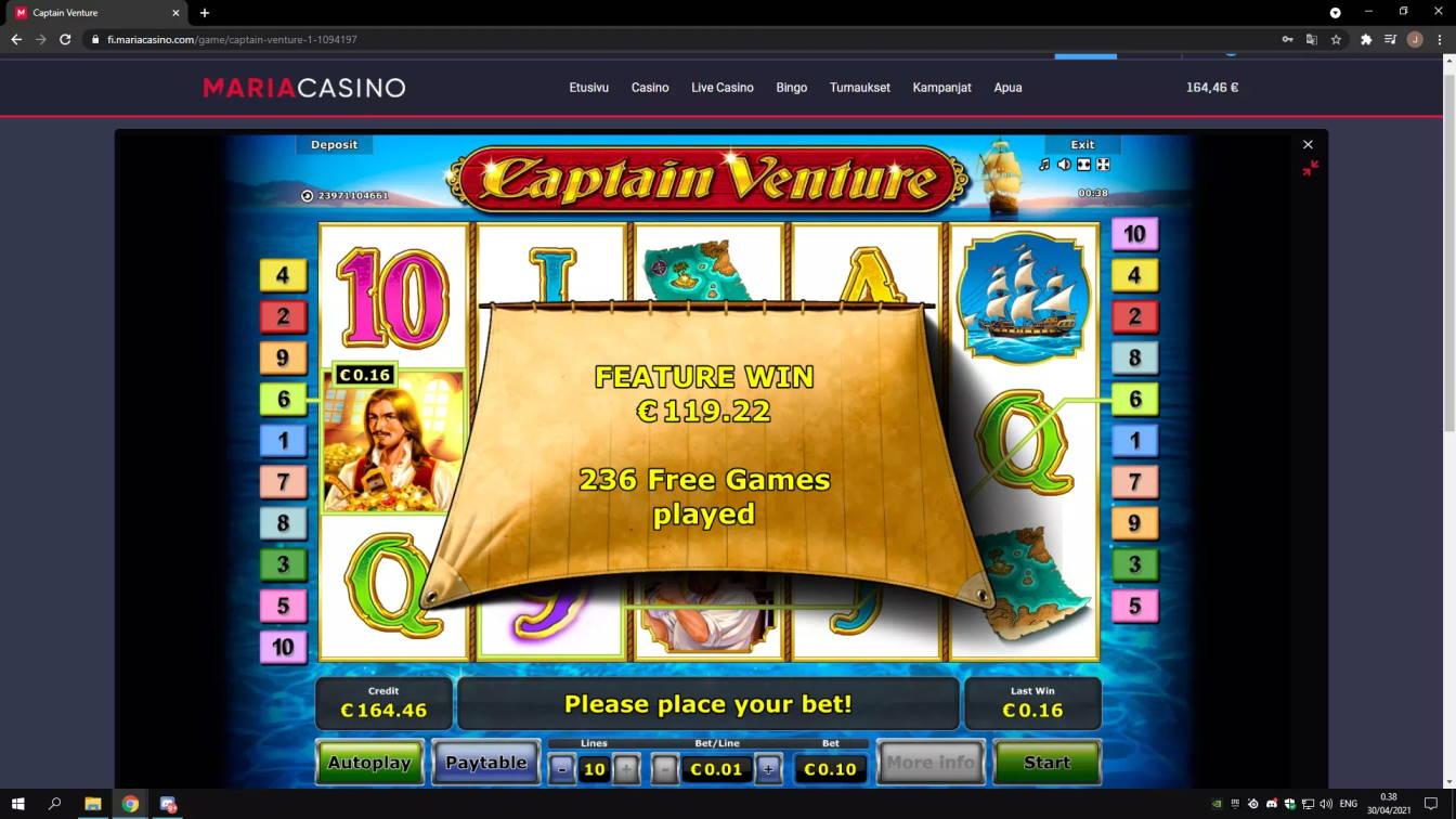 Captain Venture Casino win picture by Jonkki 30.4.2021 119.22e 1192X Maria Casino