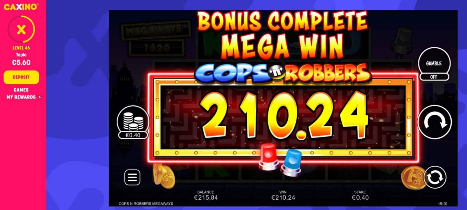 Cops_n Robbers Megaways Casino win picture by MrMork 13.5.2021 210.24e 526X