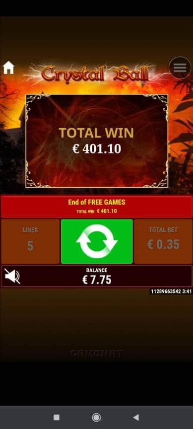 Crystal Ball Casino win picture by rossoneri82 20.5.2021 401.10e 1146X