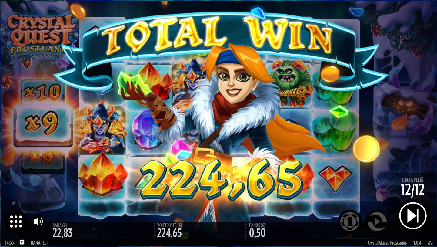 Crystal Quest Frostland Casino win picture by Kari Grandi 30.4.2021 224.65e 449X
