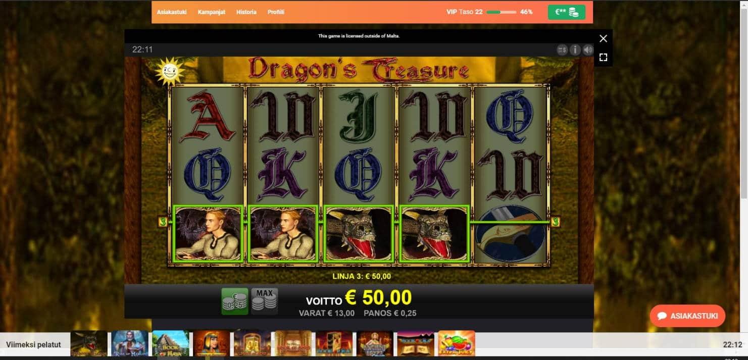 Dragons Treasure Casino win picture by Henkka 2.5.2021 50e 200X LeoVegas