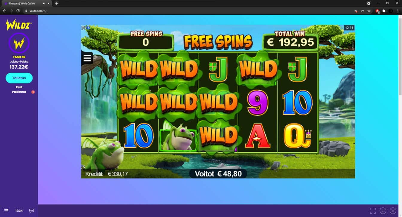 Dragonz Casino win picture by FartyPantZ 7.5.2021 192.95e Wildz