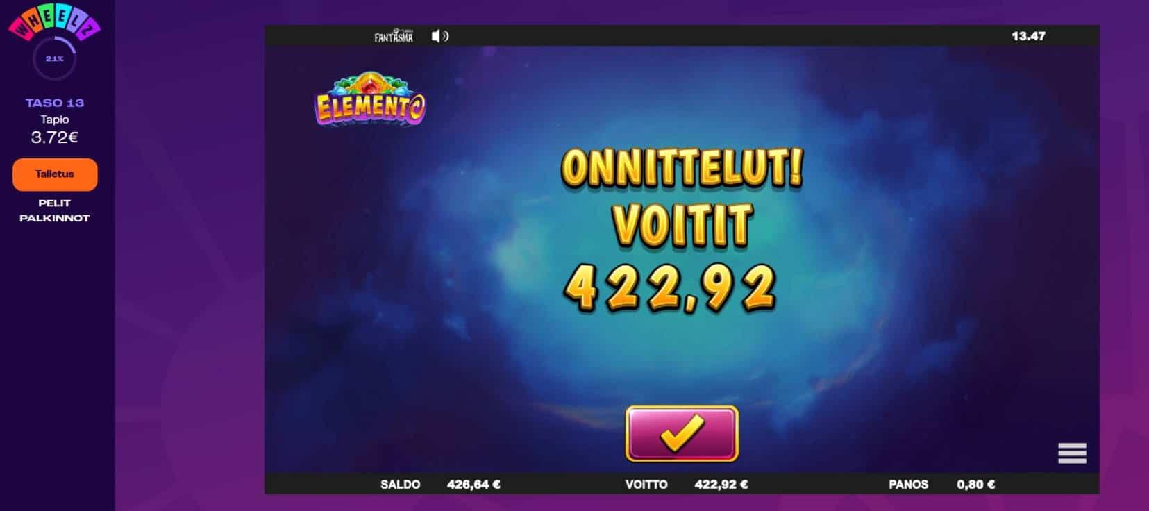 Elemento Casino win picture by Mrmork666 28.4.2021 422.92e 529X Wheelz