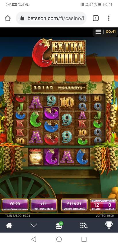 Extra Chilli Casino win picture by Hookos 6.5.2021 116.31e 582X Betsson