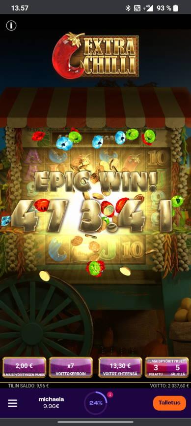 Extra Chilli Casino win picture by tiikerililja87 18.5.2021 2037.60e 1019X Wheelz