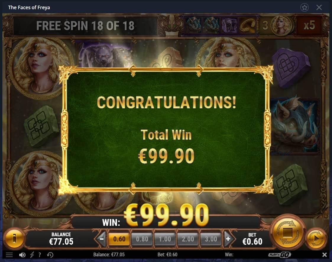 Faces of Freya Casino win picture by Mrmork666 28.4.2021 99.90e 167X