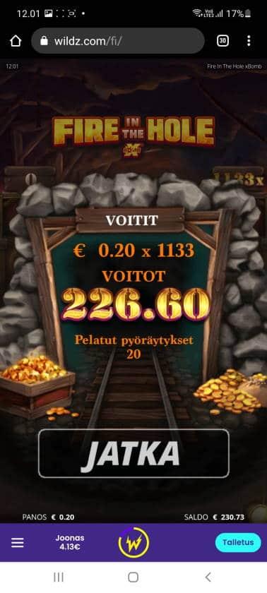 Fire in the Hole Casino win picture by holari993 16.5.2021 226.60e 1133X Wildz