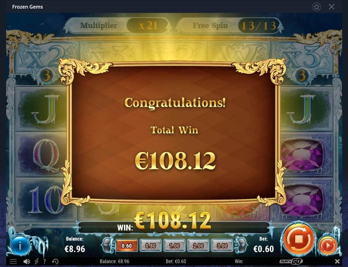 Frozen Gems Casino win picture by Mrmork666 28.4.2021 108.12e 180X