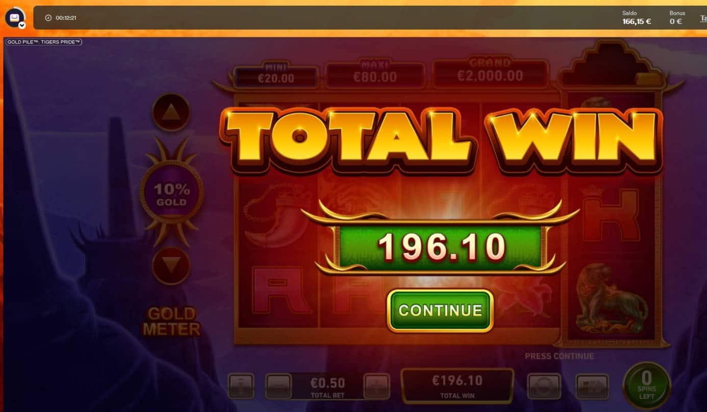 Gold Pile Tigers Pride Casino win picture by Mrmork666 28.4.2021 196.10e 392X Casumo