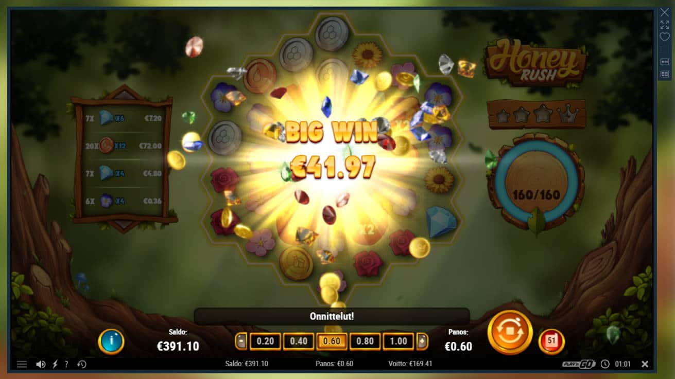 Honey Rush Casino win picture by Banhamm 30.4.2021 169.40e 282X