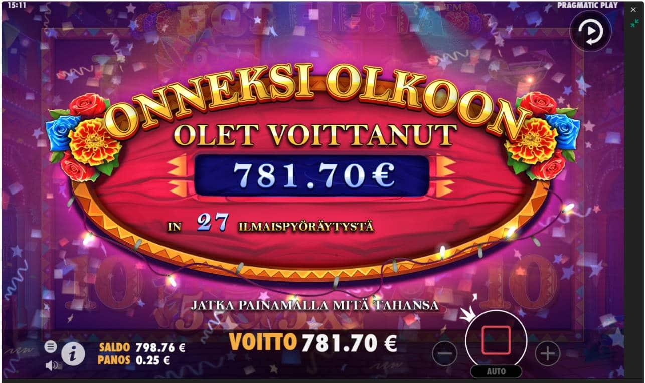 Hot Fiesta Casino win picture by Keilaaja 30.4.2021 781.70e 3127X