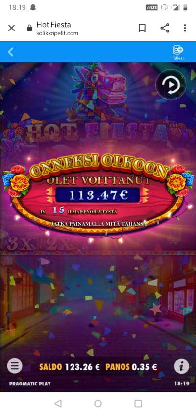 Hot Fiesta Casino win picture by MikoTiko 28.4.2021 113.47e 324X Kolikkopelit