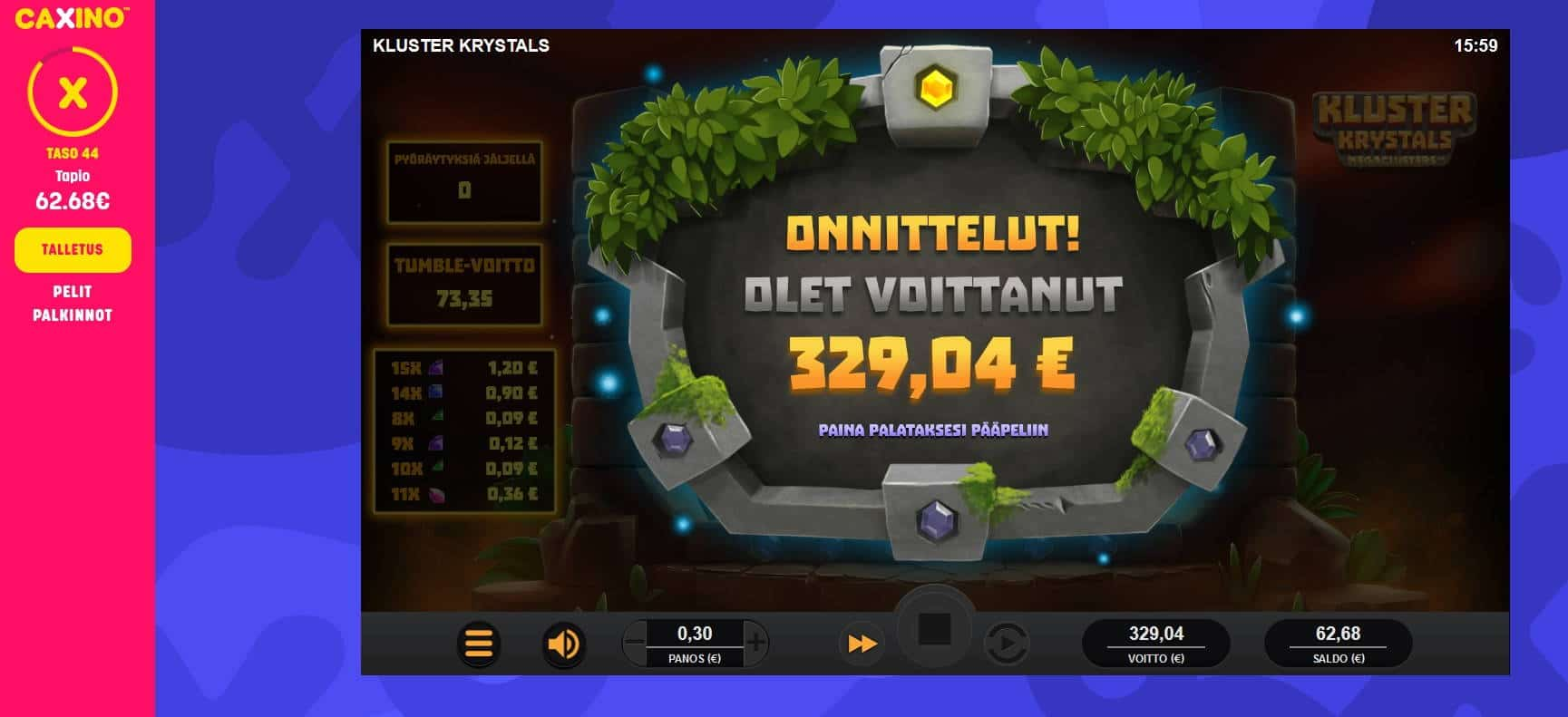 Kluster Krystals Casino win picture by Mrmork666 28.4.2021 329.04e 1097X Caxino