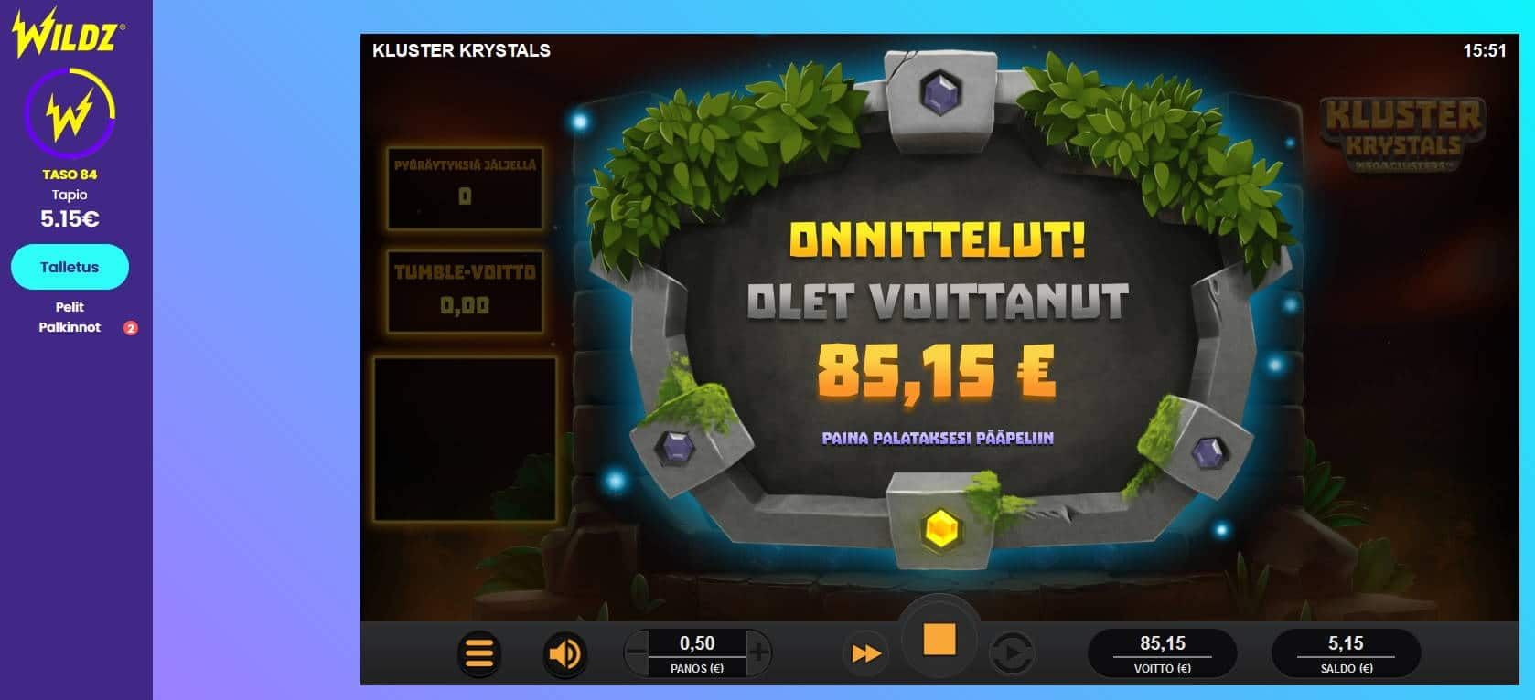 Kluster Krystals Casino win picture by Mrmork666 28.4.2021 85.15e 170X Wildz