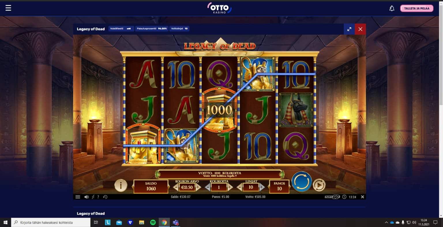 Legacy of Dead Casino win picture by PyyGentz 11.5.2021 505e 101X Otto Kasino