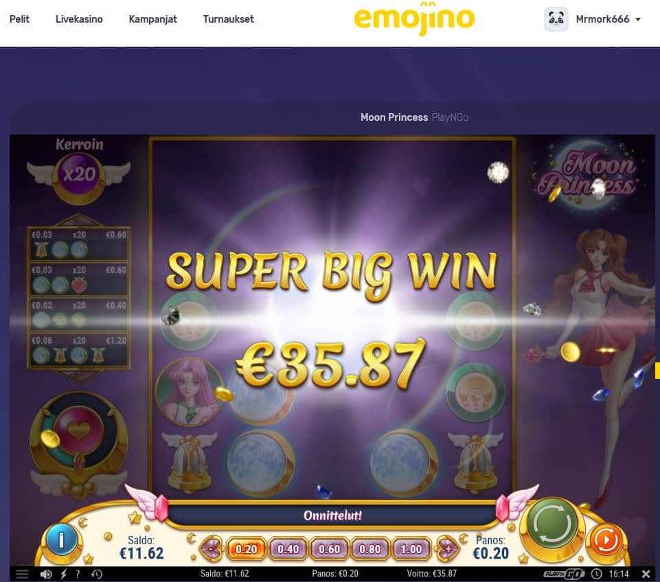 Moon Princess Casino win picture by Mrmork666 28.4.2021 35.87e 179X Emojino