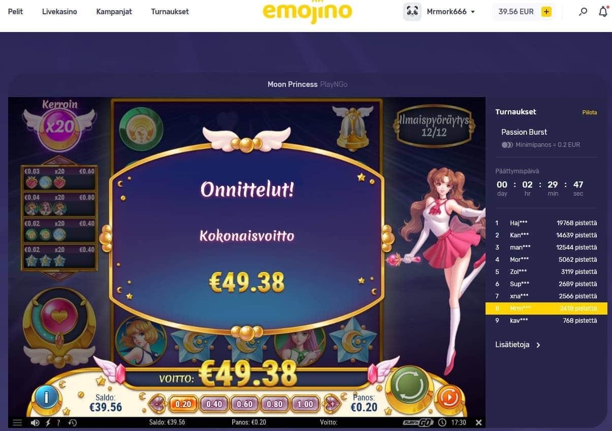 Moon Princess Casino win picture by Mrmork666 28.4.2021 49.38e 247X Emojino