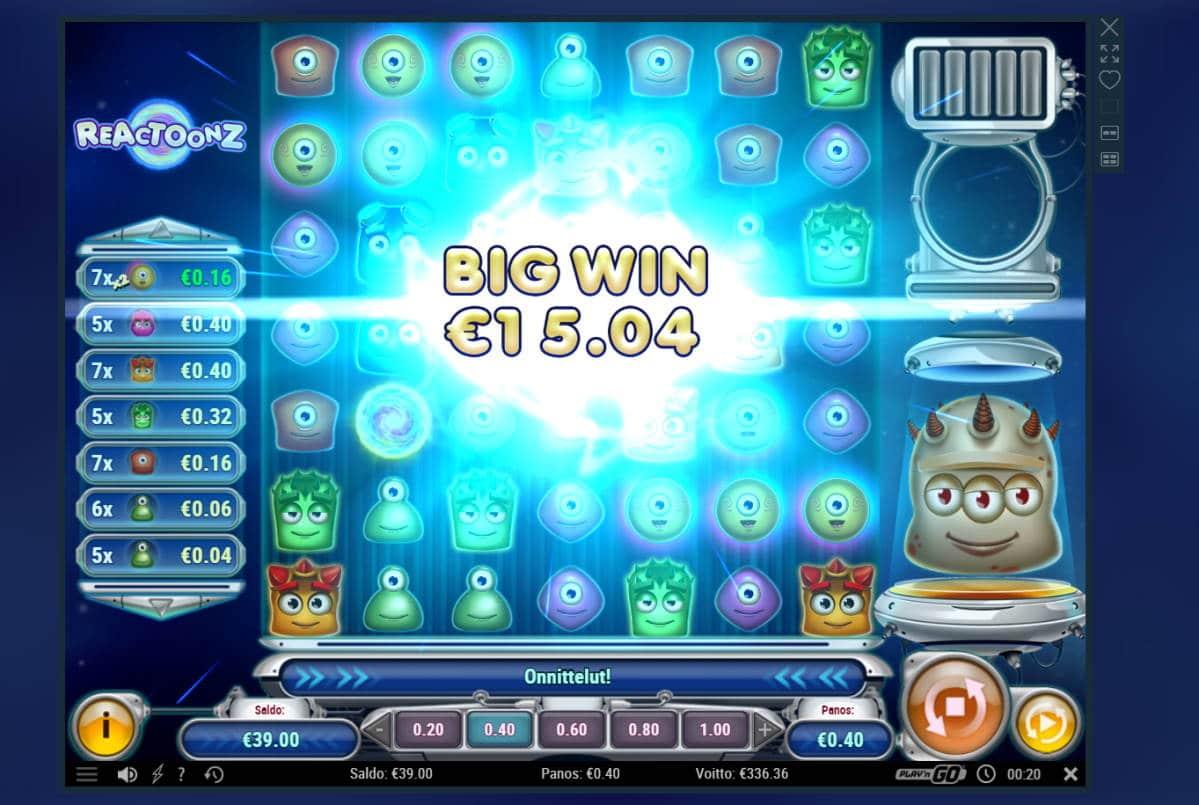 Reactoonz Casino win picture by Banhamm 30.4.2021 336.36e 841X