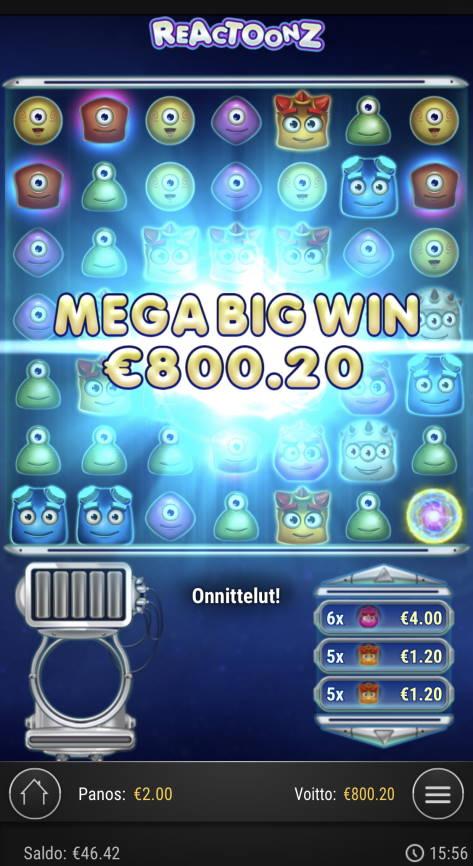 Reactoonz Casino win picture by Sonefinland 19.5.2021 800.20e 400X