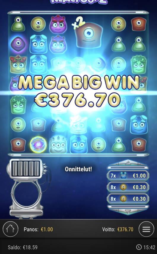 Reactoonz Casino win picture by Sonefinland 20.5.2021 376.70e 377X