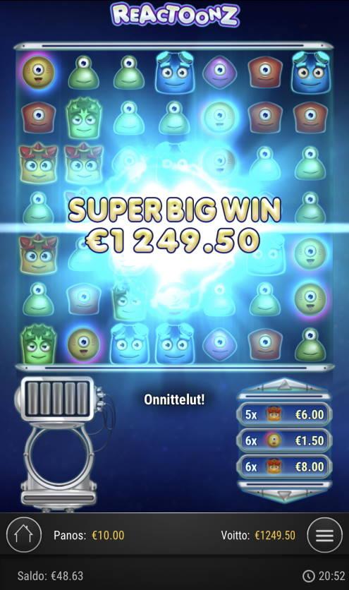 Reactoonz Casino win picture by Sonefinland 29.4.2021 1249.50e 125X