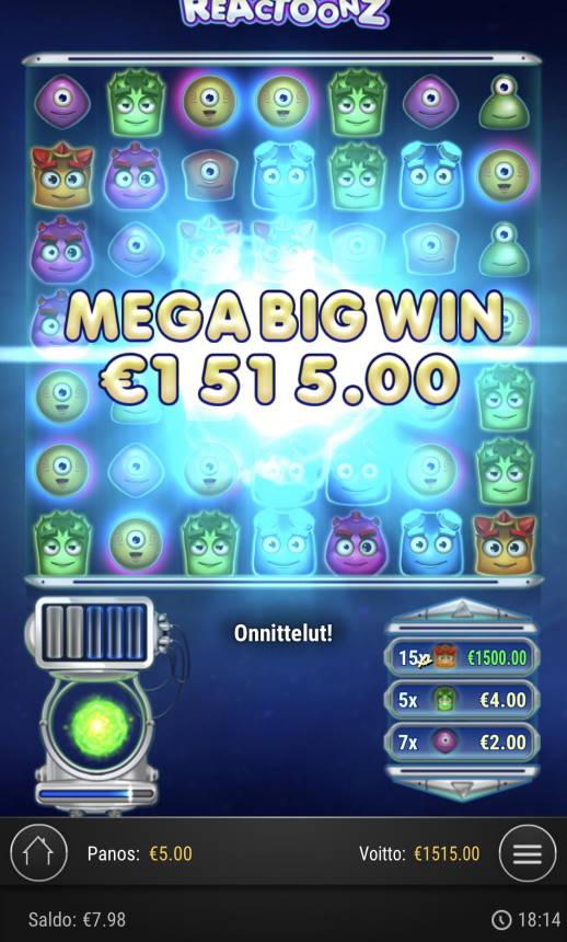 Reactoonz Casino win picture by Sonefinland 29.4.2021 1515e 303X