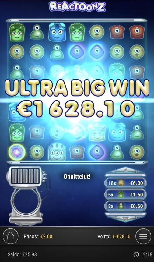 Reactoonz Casino win picture by Sonefinland 29.4.2021 1628.10e 814X