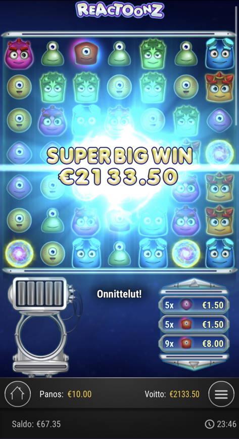 Reactoonz Casino win picture by Sonefinland 29.4.2021 2133.50e 213X