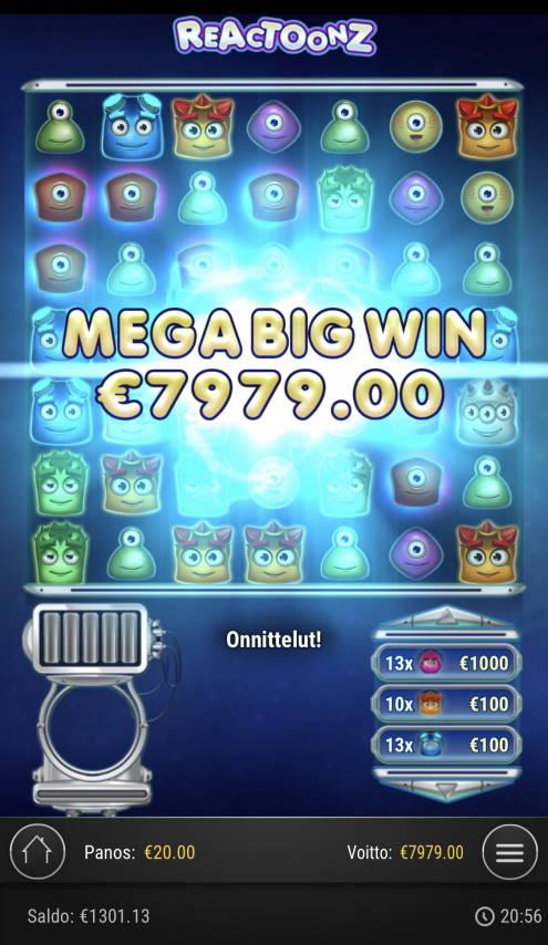Reactoonz Casino win picture by Sonefinland 29.4.2021 7979e 399X