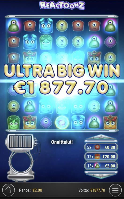 Reactoonz Casino win picture by Sonefinland 3.5.2021 1877.70e 939X