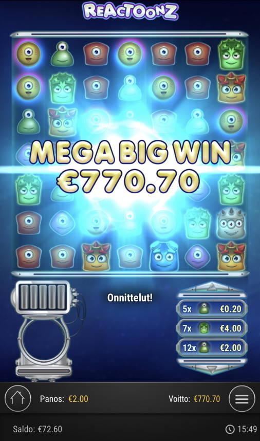 Reactoonz Casino win picture by Sonefinland 3.5.2021 770.70e 385X