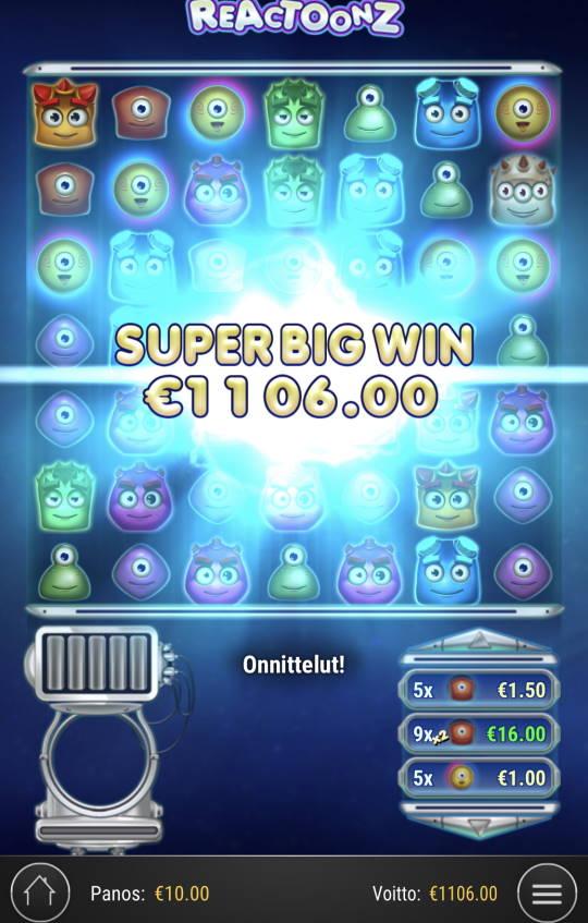 Reactoonz Casino win picture by Sonefinland 30.4.2021 1106e 111X